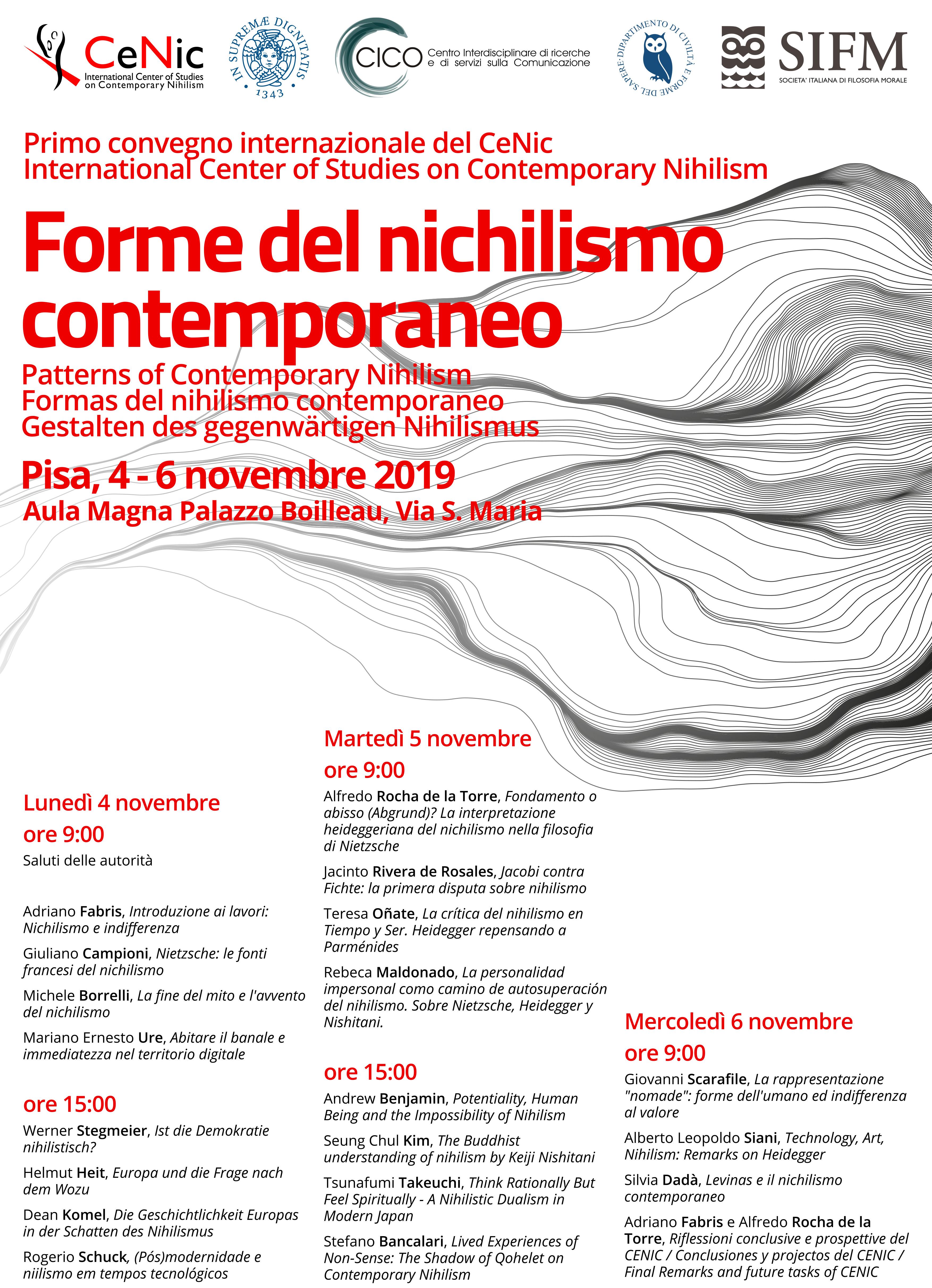 Covegno Forme del nichilismo contemporaneo - Pisa 2019